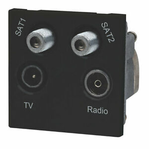 LAP 1-Gang TV Coaxial Grid Module Black