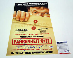 MICHAEL-MOORE-SIGNED-AUTOGRAPH-FAHRENHEIT-911-MOVIE-POSTER-PSA-DNA-COA