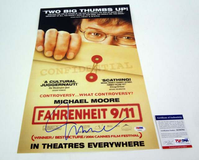 MICHAEL MOORE SIGNED AUTOGRAPH FAHRENHEIT 911 MOVIE POSTER PSA/DNA COA