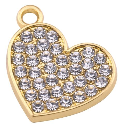 20pcs Rhinestone Crystal Heart Shaped Charms for Bracelet Necklace DIY Making