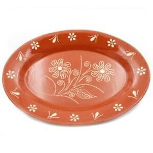 Traditional-Portuguese-Hand-painted-Vintage-Clay-Terracotta-Serving-Platter