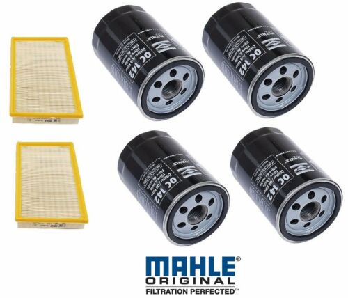 Set of 4 Engine Oil Filters+2 Air Filters Mahle For Porsche 944 924s 83-89