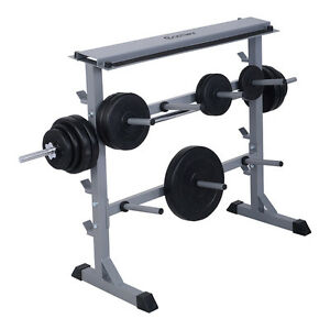 """New 2 Tier 40"""" Barbell Dumbbell Rack Weights Storage Stand ..."""