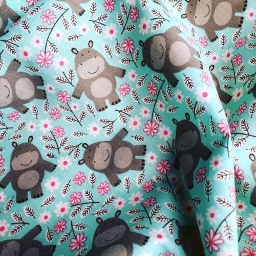 Tela Polycotton Hipopótamos Animal Para niños Verano Lindo