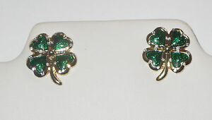 Image Is Loading Four Leaf Clover Earrings Shamrock Hearts Silver Tone
