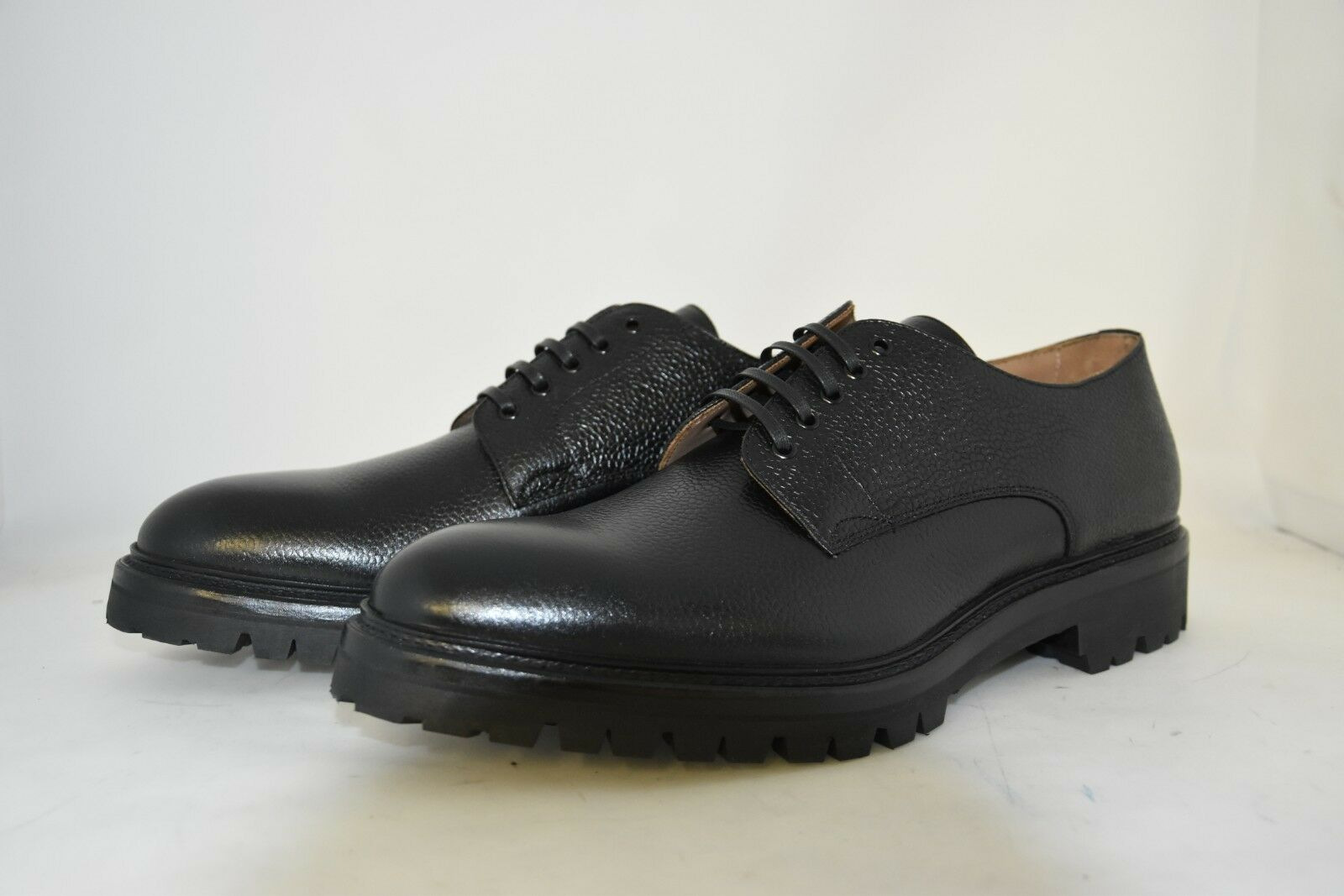 MAN-9eu-10us-DERBY-BLACK SCOTCH GRAIN- VITELLO black-RUBBER SOLE -SUOLA GOMMA