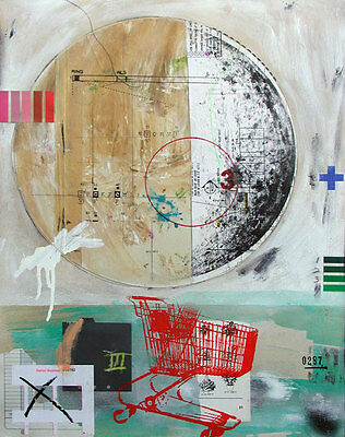 SJART abstract modern collage mixed media painting   eBay