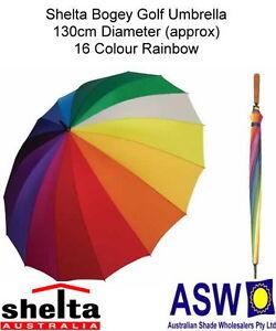 Image Is Loading RAINBOW GOLF UMBRELLA Shelta Bogey Rain 16 Colours