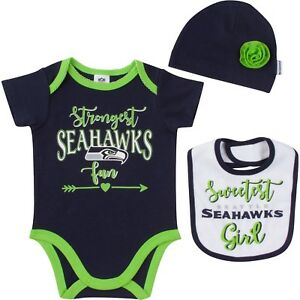 5c8904345 Seattle Seahawks Baby Girl 3pc Onesie Bodysuit Hat Bib, NFL Gerber ...