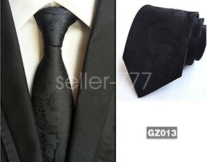 Mens-Classic-Black-Paisley-JACQUARD-WOVEN-Tie-Necktie-Wedding-Party-gift