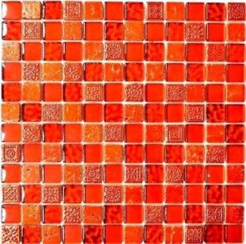 Mosaik Fliese Transluzent rot Glasmosaik Crystal   83-CB30_f   10 Matten