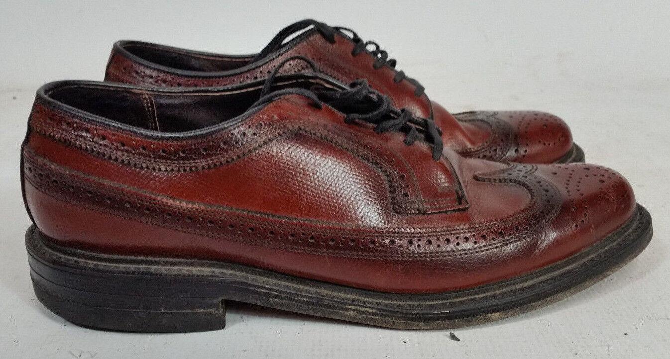 Mens Vintage Florsheim 8.5 Gunboat Wingtip Oxford Pebble Dress Leather shoes