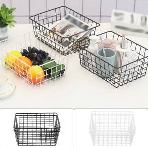 2pcs-Bathroom-Iron-Storage-Basket-Metal-Wire-kitchen-Tray-Desk-Mesh-Basketry-Box