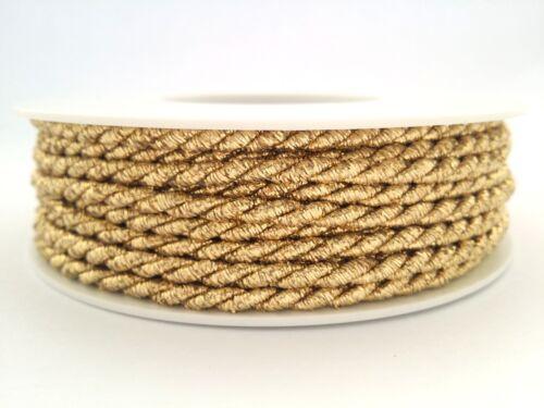 2F Twisted Braid Cord Soutache 4 mm wide Metallic Gold /& Silver