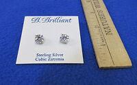 Stud Earrings B Brilliant Sterling Silver & Cubic Zirconia 2.5 Ct 9mm Each
