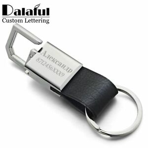 Llaveros-De-Cuero-Personalizado-Personalizado-Letras-KEYRING-grabar-el-nombre-Par-De-Regalo