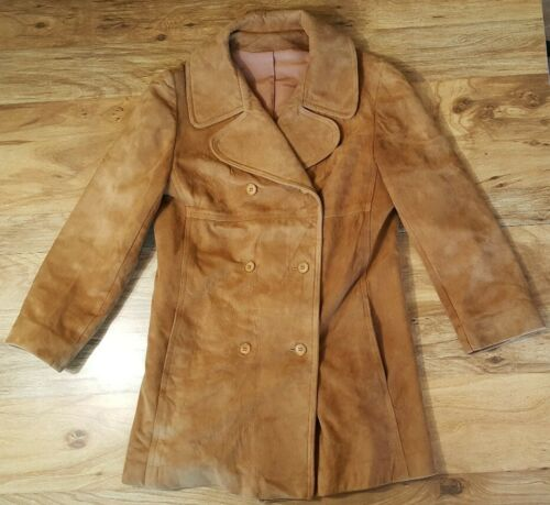 WOMENS VTG BROWN LEATHER SUEDE DOUBLE BREASTED TRE