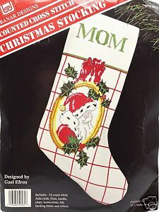 Counted-Cross-Stitch-Kit-Santa-Christmas-Stocking-New-Vintage-by-Banar-Designs