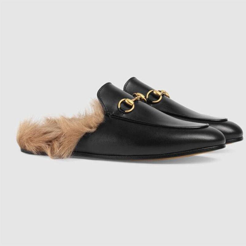 femmes Real Leather Rabbit Fur Lined Slippers Flat Metal Horsebit chaussures Slip on