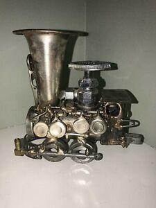 Vintage-Sonny-Dalton-Steampunk-Metal-Locomotive-4-Wheel-Steam-Train-Sculpture