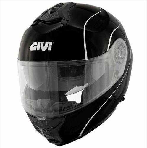 Gloss Black//Silver Givi X21 Challenger Motorcycle Flip Front Motorbike Helmet