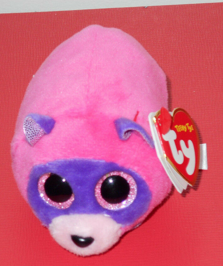 """2016 TY Teeny Tys RUGGER THE pink Raccoon 4/"""" Stackable! New"""