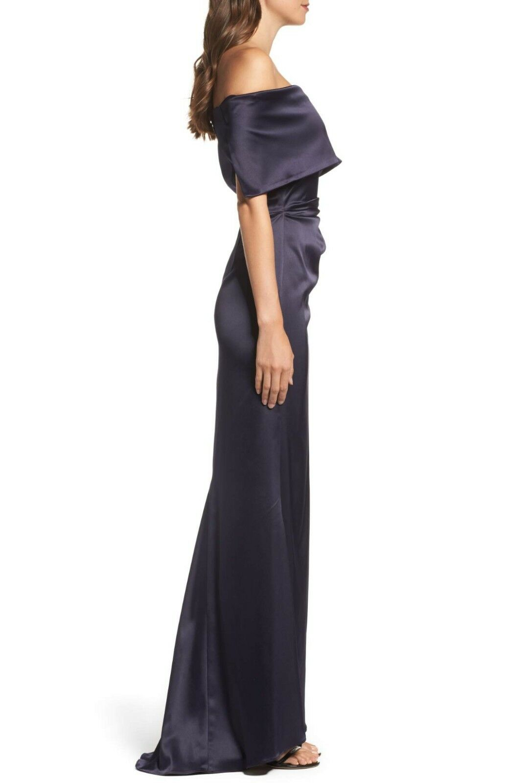 NEW VINCE VINCE VINCE CAMUTO Navy bluee Satin Off Shoulder Ruched Fold Over Fishtail Gown 4 731b99