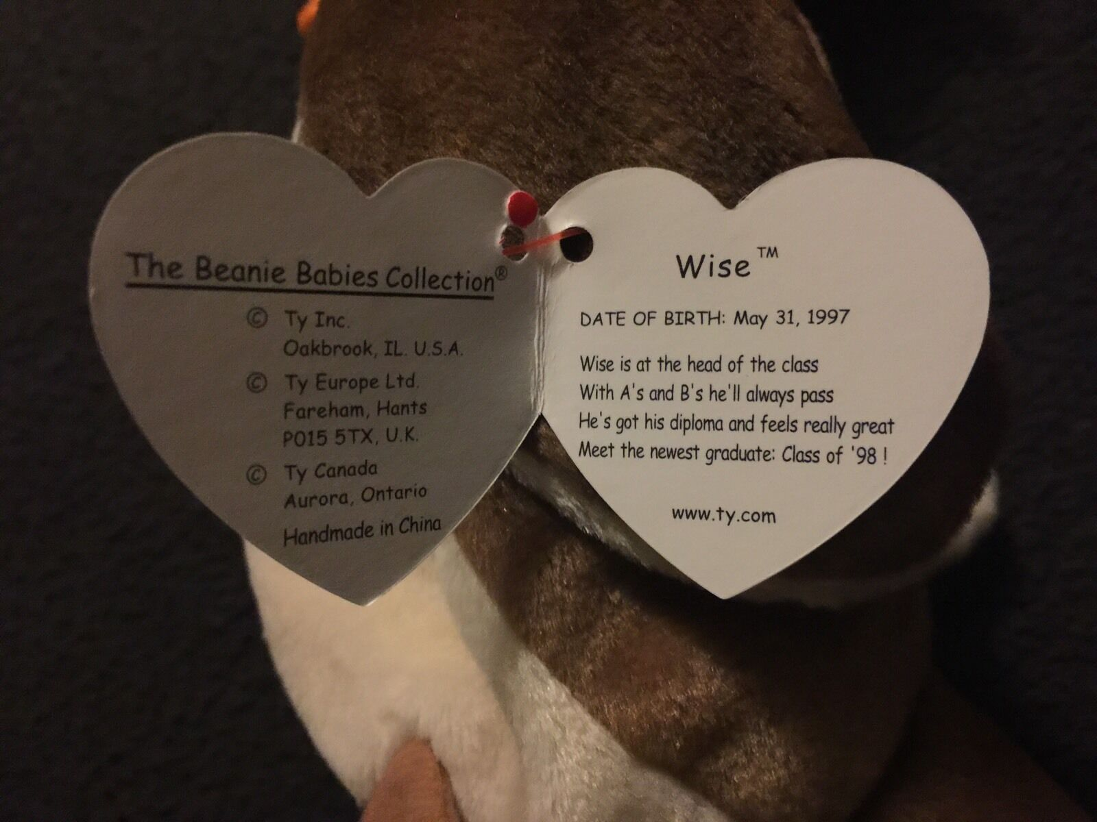 Rare Ty Wise Class Of '98 Beanie Beanie Beanie Babies Tag Date And Punctuation Errors c4a988