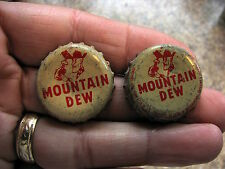 Mountain Dew Willy cork lined crown bottle caps (2) TIP Corp. & Pepsi N.Y.