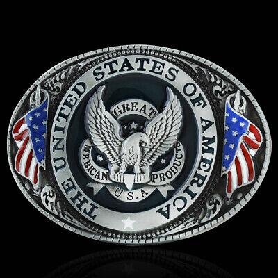 Western Cowboy USA American Flag Eagle Zinc Alloy Fashion Men Belt Buckle