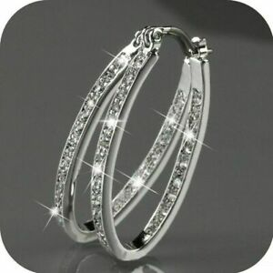 Large-Bling-Hoop-CZ-Crystal-Bridal-Round-Rhinestone-Huggie-Earrings-Jewelry-New