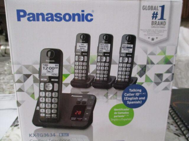 Panasonic Cordless Telephone w// Digital Answering Machine 4 Handsets KX-TG3634B