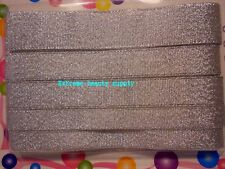 "3//8 /"" silver  girl dance hair pony tail tie cheerleader grosgrain Ribbon Bow"