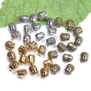 Tibetan-Silver-Gold-Bronze-Metal-Buddha-Head-DIY-Bracelets-Loose-Beads-10-pcs