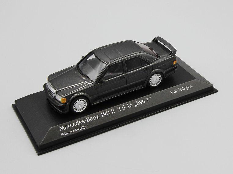 Minichamps 1 43 MERCEDES 190 EVO 1 (W201) 1990  gris Metallic L.E. 700 pcs.  dessins exclusifs