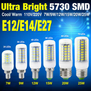 Bright 5730 LED Corn Bulb Lamp Milky White Library Light 110//220V E27 E12 G9 E14
