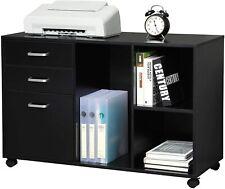 Wood File Cabinet 3 Drawer Open Storage Shelves Home Office Organizer Black