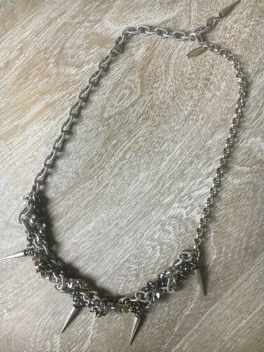 Joomi Lim Rhodium Spike Messy Chains Necklace, Cho