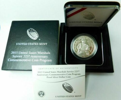 2015 S US Marshals Service 225th Anniversary Proof Half Dollar 50c Coin with Box