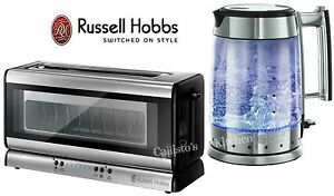 russell hobbs glass line kettle and toaster set glass kettle long slot toaster ebay. Black Bedroom Furniture Sets. Home Design Ideas