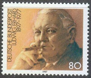 Germany-1987-MNH-Mi-1308-Sc-1498-Ludwig-Erhard-economist-with-cigar-tabacco