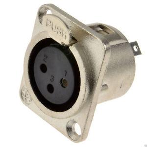 XLR-Socket-Microphone-Chasis-Panel-Mount-Solder-Terminal-Socket-Metal