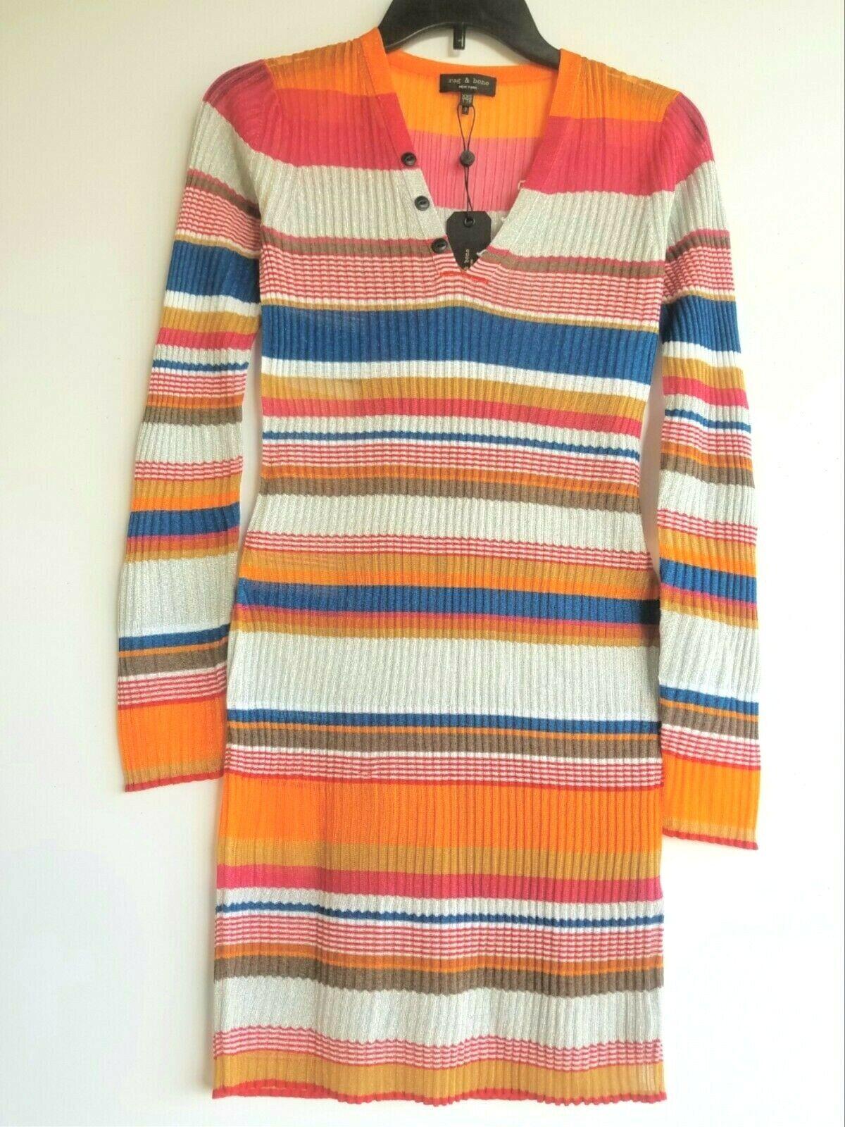 Rag och Bone Kaglidas Multifärgad randig Mini Long Sleve Dress XXS särskildiserad  275