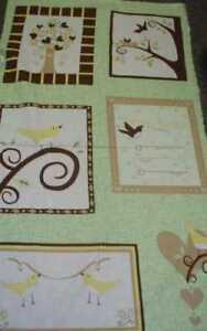 Chirp-green-brown-baby-announcement-panel-Kaufman-fabric