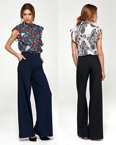detailed look eb262 29b41 Dettagli su Pantalon femme habillé coupe palazzo large noir ou bleu taille  haute NIFE SD31