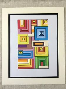Details About Abstract Painting Original Colorful Geometric Shapes Modern Art Deco Style