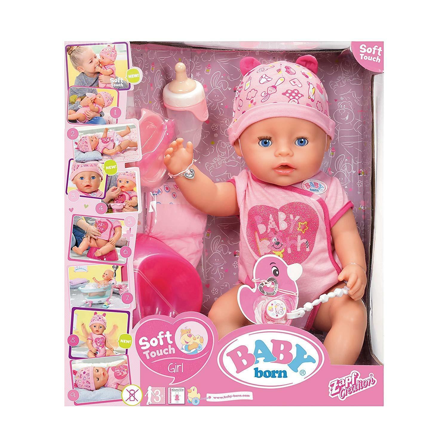 Zapf Baby Soft Born Interactive Soft Baby Touch Doll Toy Playset & Accessories Girl / Boy f63573