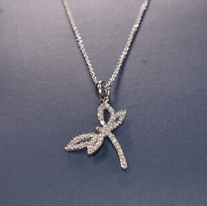 466cd9b5a Image is loading White-Gold-Diamond-Dragonfly-Necklace