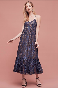 New Anthropologie Moulinette Soeurs Celestial Lace Maxi Dress Blue