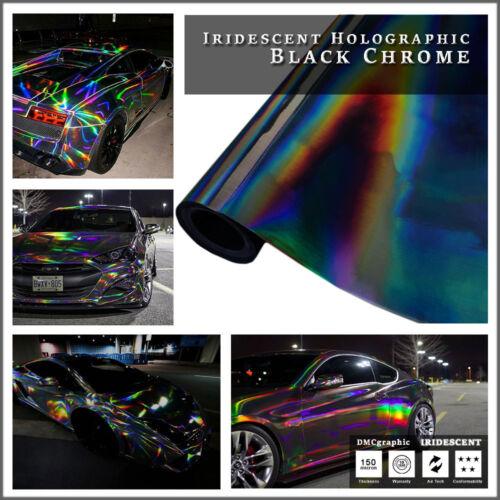 400x152cm Noir Iridescent Holographique Neon Chameleon Chrome Véhicule Vinyle Wrap